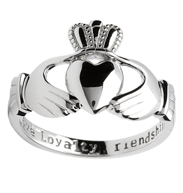RINGS SHANORE GENTS HEAVY STERLING INSCRIBED CLADDAGH