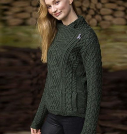 SWEATERS LADIES SIDE ZIP IRISH CARDIGAN - ARMY GREEN