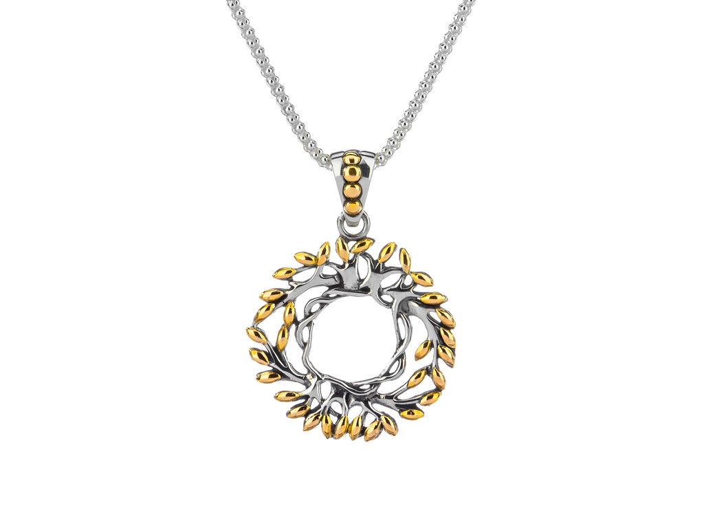 PENDANTS & NECKLACES KEITH JACK STERLING & 18K SML CIRCLE TREE OF LIFE PENDANT