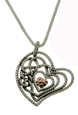 PENDANTS & NECKLACES CLEARANCE - KEITH JACK STERLING & ROSE GOLD HEART PENDANT - FINAL SALE