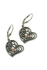 EARRINGS CLEARANCE - KEITH JACK STERLING & ROSE GOLD HEART EARRINGS - FINAL SALE