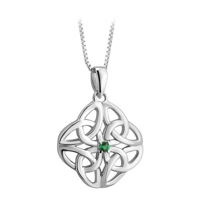 PENDANTS & NECKLACES ACARA SILVER FOUR TRINITY PENDANT with STONE