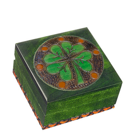 DECOR FOUR LEAF CLOVER WOODEN BOX