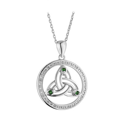 PENDANTS & NECKLACES SOLVAR STERLING CRYSTAL ILLUSION TRINITY PENDANT