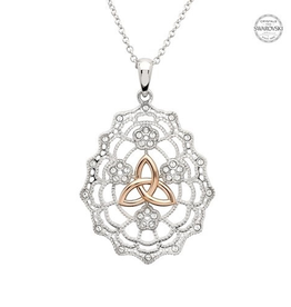 PENDANTS & NECKLACES SHANORE CELTIC LACE TRINITY PENDANT with GP & SWAROVSKI CRYSTALS