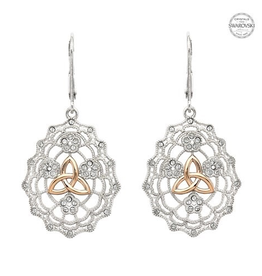 EARRINGS SHANORE CELTIC LACE TRINITY EARRINGS with GP & SWAROVSKI CRYSTALS