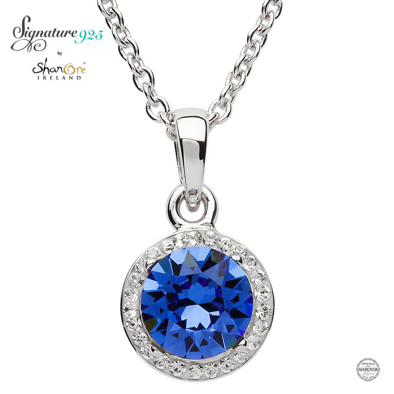 PENDANTS & NECKLACES SIGNATURE 925 - SAPPHIRE HALO PENDANT with SWAROVSKI CRYSTALS