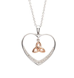 PENDANTS & NECKLACES SHANORE STERLING & RG TRINITY HEART PENDANT with CZ