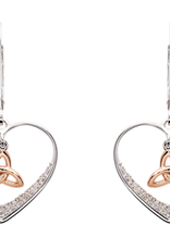 EARRINGS SHANORE STERLING & RG TRINITY HEART DROP EARRINGS with CZ