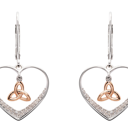 EARRINGS SHANORE STERLING & RG TRINITY HEART DROP EARRINGS with CZ
