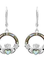 EARRINGS SHANORE STERLING CLADDAGH EARRINGS with ABALONE & SWAROVSKI CRYSTAL