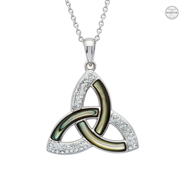 PENDANTS & NECKLACES SHANORE STERLING TRINITY PENDANT with ABALONE & SWAROVSKI CRYSTALS