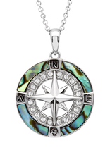 PENDANTS & NECKLACES OCEAN STERLING COMPASS PENDANT with ABALONE & SWAROVSKI CRYSTALS