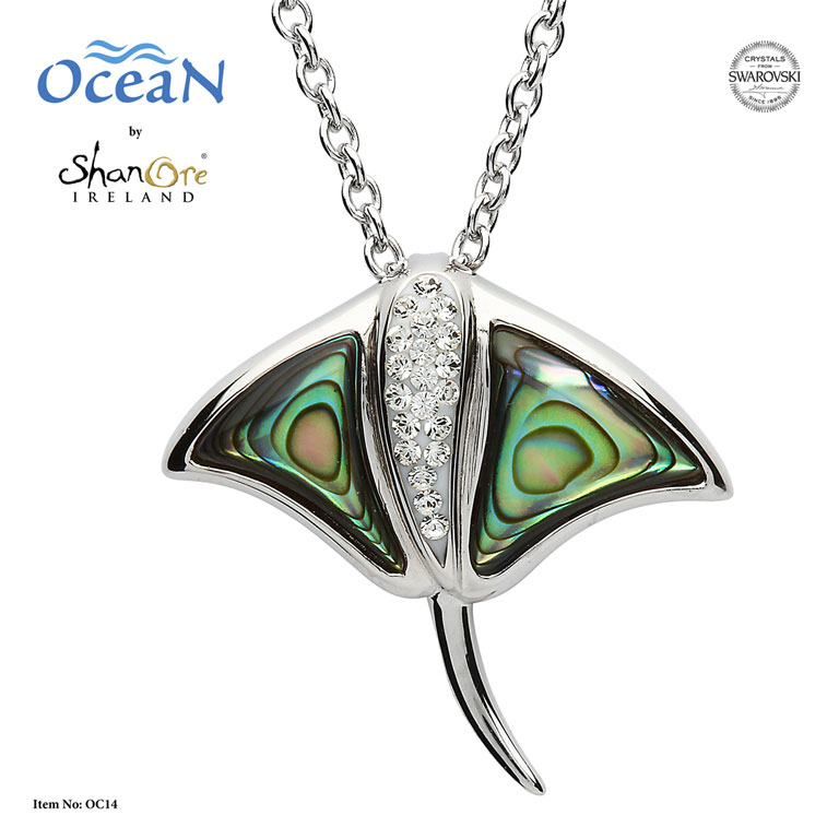 PENDANTS & NECKLACES OCEAN STERLING STING RAY with ABALONE & SWAROVSKI CRYSTALS