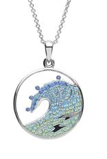 PENDANTS & NECKLACES OCEAN STERLING CRYSTAL WAVE PENDANT with SWAROVSKI CRYSTALS