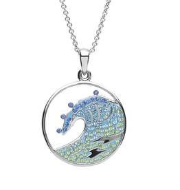 PENDANTS & NECKLACES OCEAN STERLING CRYSTAL WAVE PENDANT with SWAROVSKI CRYSTALS