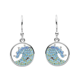 EARRINGS OCEAN STERLING CRYSTAL WAVE EARRINGS with SWAROVSKI CRYSTALS