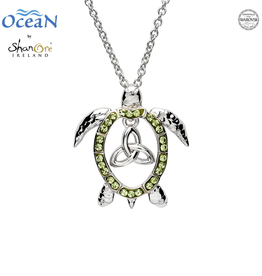 PENDANTS & NECKLACES OCEAN STERLING TURTLE PENDANT with TRINITY & SWAROVSKI CRYSTALS