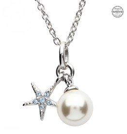 PENDANTS & NECKLACES OCEAN STERLING MINI STAR FISH with PEARL & AQUA SWAROVSKI CRYSTALS