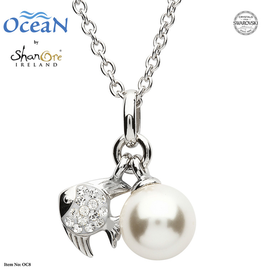 PENDANTS & NECKLACES OCEAN STERLING MINI FISH PENDANT with PEARL & SWAROVSKI CRYSTALS