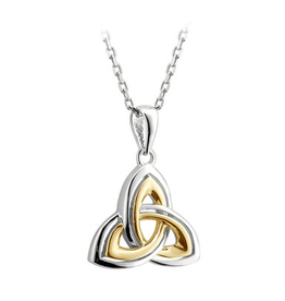 PENDANTS & NECKLACES SOLVAR SILVER & GP TRINITY CREASES PENDANT