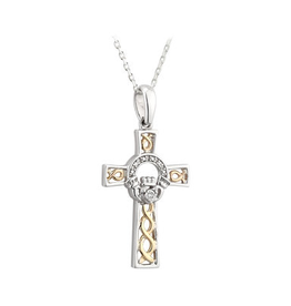 CROSSES SOLVAR SILVER & 10K GOLD CLADDAGH CELTIC CROSS PENDANT with DIAMONDS