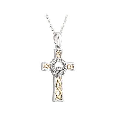 CROSSES SOLVAR SILVER & 10K GOLD CLADDAGH CELTIC CROSS PENDANT with DIAMONDS
