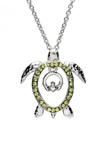 PENDANTS & NECKLACES OCEAN STERLING TURTLE PENDANT with CLADDAGH & SWAROVSKI CRYSTALS