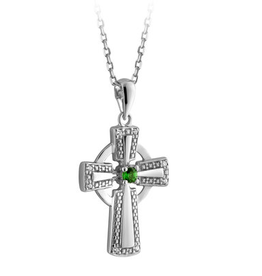 CROSSES SOLVAR STERLING CRYSTAL ILLUSION CELTIC CROSS PENDANT