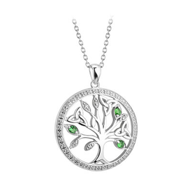PENDANTS & NECKLACES SOLVAR STERLING CRYSTAL ILLUSION TREE of LIFE PENDANT