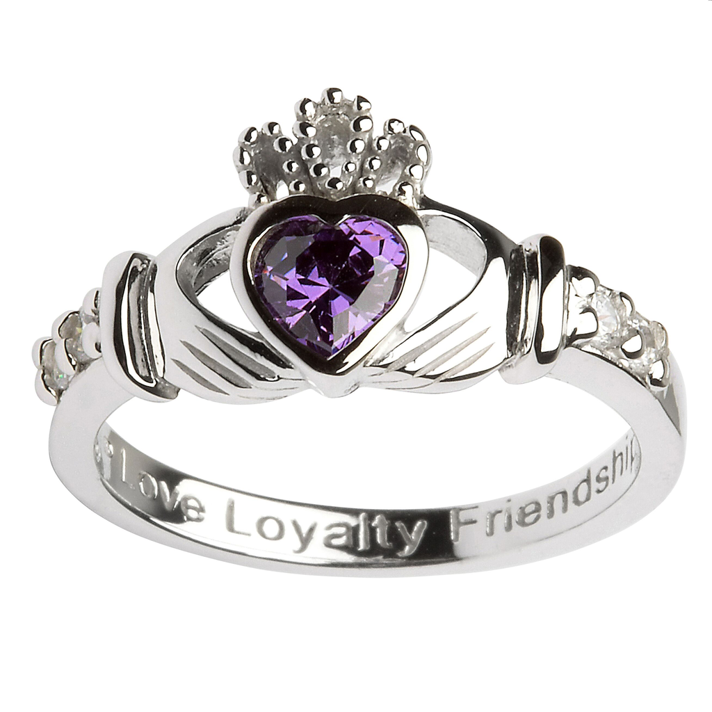 RINGS SHANORE STERLING BIRTHSTONE CLADDAGH RING - FEBRUARY