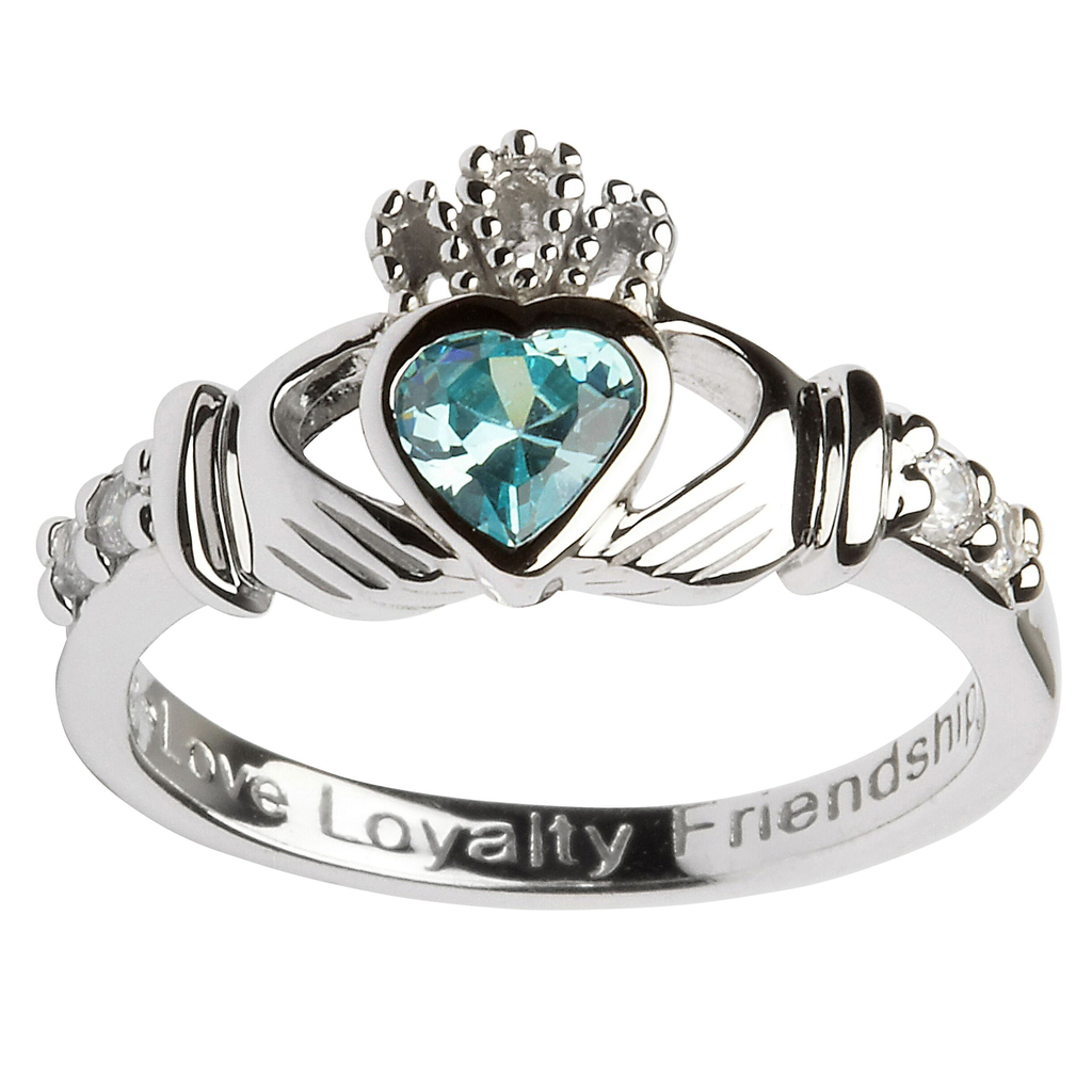RINGS SHANORE STERLING BIRTHSTONE CLADDAGH RING - MARCH