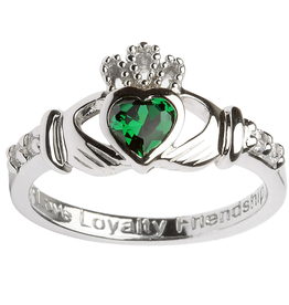 RINGS SHANORE STERLING BIRTHSTONE CLADDAGH RING - MAY