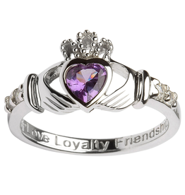 RINGS SHANORE STERLING BIRTHSTONE CLADDAGH RING - JUNE