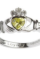 RINGS SHANORE STERLING BIRTHSTONE CLADDAGH RING - AUGUST