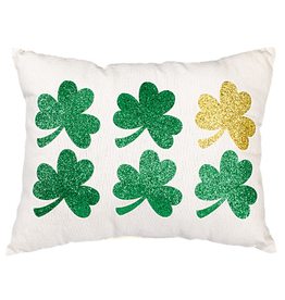 NOVELTY SHAMROCK PILLOW with GLITTER