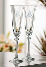 WEDDING FLUTES GALWAY CRYSTAL LIBERTY FLUTES w/ TRINITY KNOT (2)