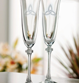 WEDDING FLUTES GALWAY CRYSTAL LIBERTY FLUTES w/ TRINITY KNOT (2)