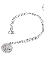 BRACELETS & BANGLES OCEAN STERLING ANKLE BRACELET - SAND DOLLAR with ROSE GOLD & SWAROVSKI CRYSTALS