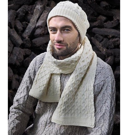 ACCESSORIES IRISH KNIT MERINO WOOL SCARF - Natural