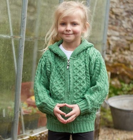 KIDS CLOTHES CHILDREN'S ARAN IRISH KNIT HOODIE SWEATER with ZIPPER - Marl Green