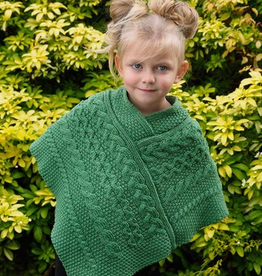 KIDS CLOTHES CHILDREN'S IRISH KNIT PONCHO - Marl Green