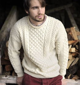 SWEATERS UNISEX ARAN IRISH KNIT CREW NECK SWEATER - Natural