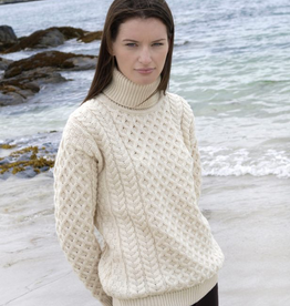 SWEATERS UNISEX ROLL NECK ARAN IRISH SWEATER - Natural