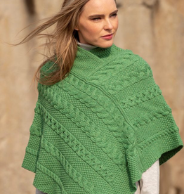 SWEATERS LADIES IRISH KNIT PONCHO - Marl Green