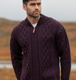 SWEATERS GENTS HALF-ZIP ARAN KNIT SWEATER - Damson