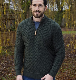 SWEATERS GENTS HALF ZIP IRISH SWEATER - Army Green