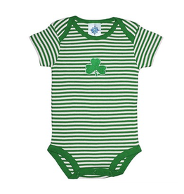 BABY CLOTHES SHAMROCK STRIPED ONESIE