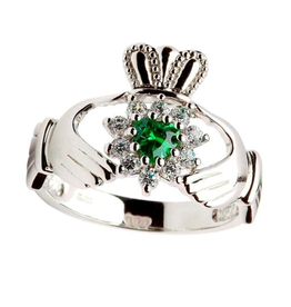 RINGS SHANORE STERLING LADIES STONE SET CLADDAGH RING