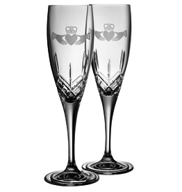WEDDING GALWAY CRYSTAL FLUTES - CLADDAGH (2)